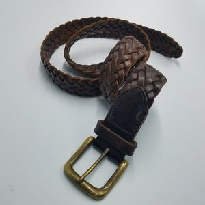 GAP Braided Brown Genuine Leather Adjustable Belt